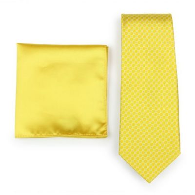 Sunbeam Yellow Geometric Print Necktie Paired to Solid Yellow Pocket Square