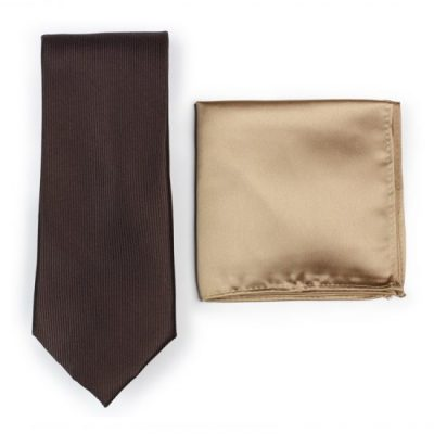 Textured Silk Chocolate Brown Necktie Paired to Light Brown Pocket Square