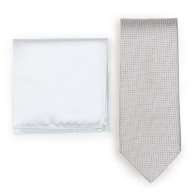 Elegant Silk Platinum Champagne Necktie Paired to Light Ivory Pocket Square