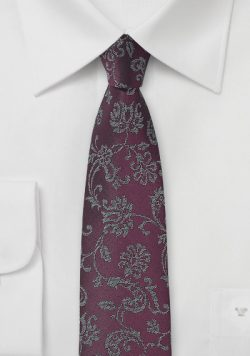Plum Colored Floral Tie