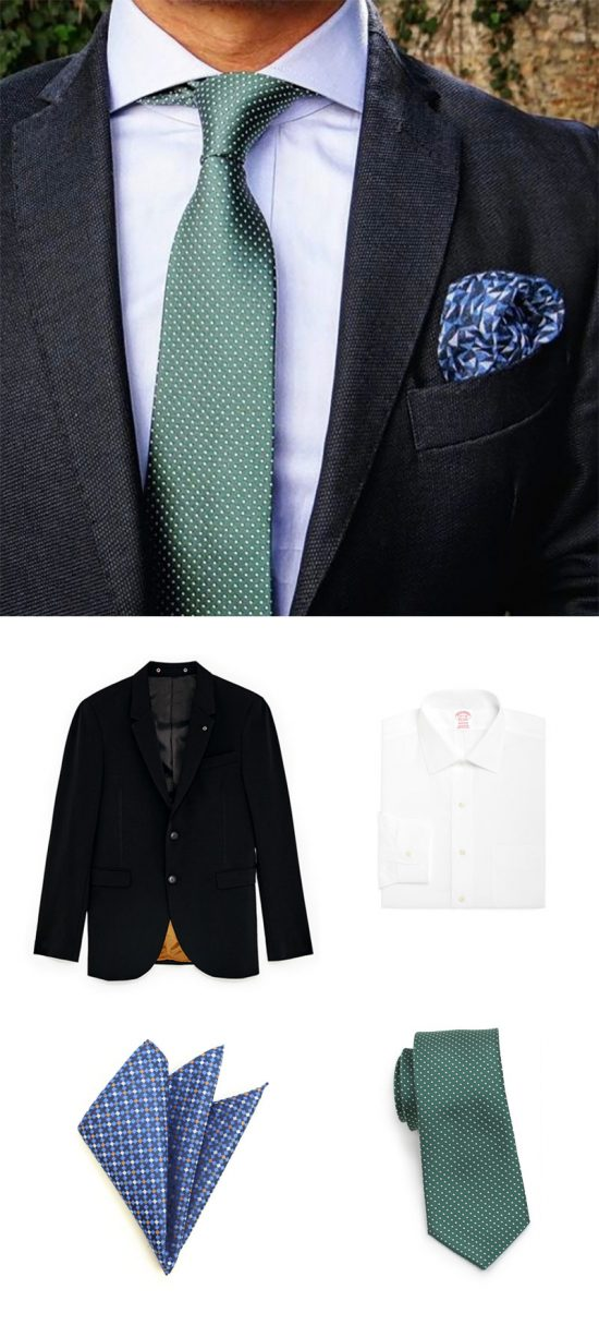 Shop This Look - Pin Dot Forest Green Necktie