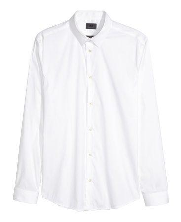 Mens White Cotton Slim Dress Shirt