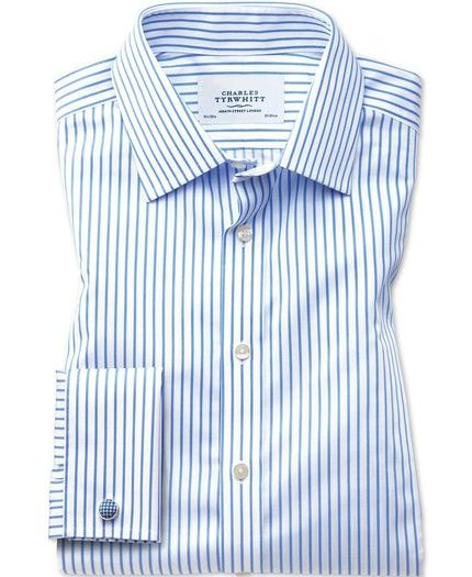 White and Blue Striped Mens Dress Shirt
