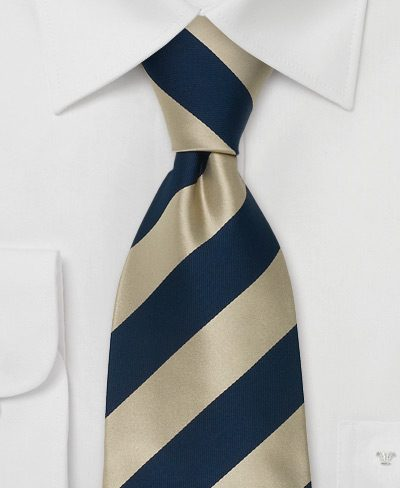 Striped Mens Necktie in Gold and Blue