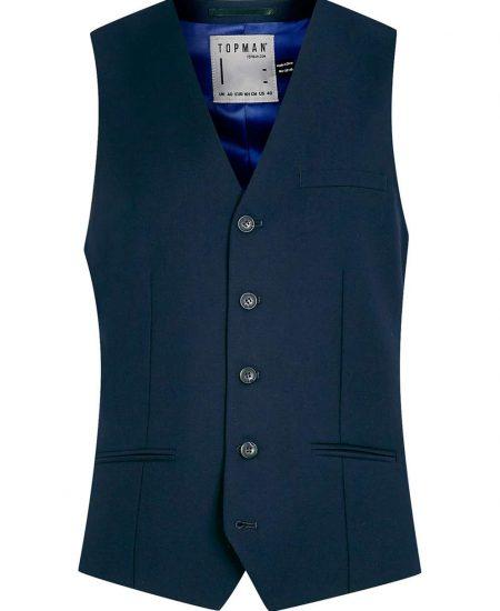 Mens Navy Suit Vest Waistcoat