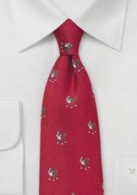 Mens Red Bulldog Print Necktie