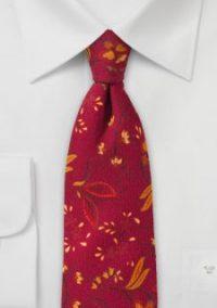 Mens Red Floral Necktie
