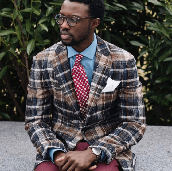 mens style how to wear red ties plaid sports coat