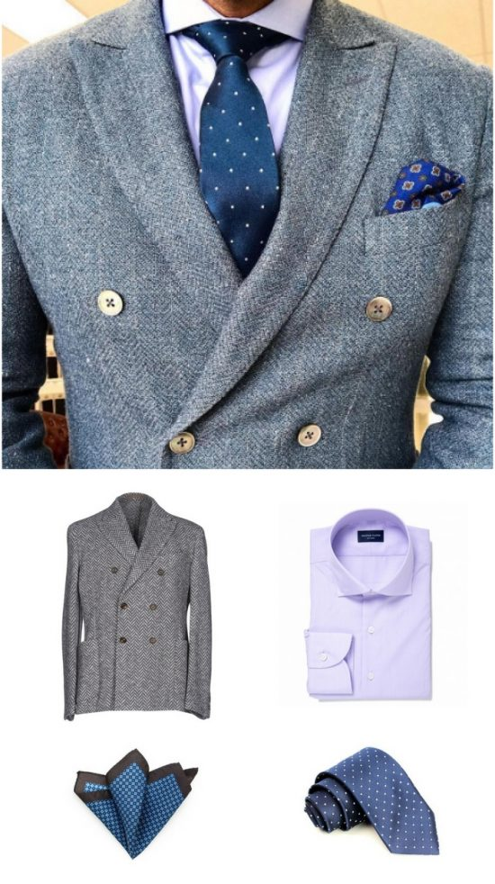 Lavender Shirt + Herringbone Double Breasted Jacket with Blue Menswear Accessories