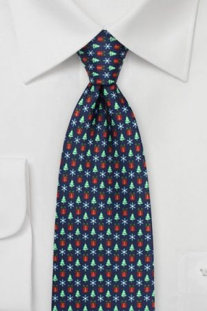 Holiday Tie with Trees, Presents, and Snowflakes in Navy