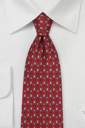 Holiday Tie with Presents, Trees, and Snowflake Print