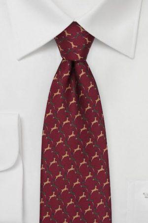 Reindeer Print Tie in Burgundy