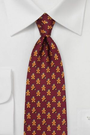 Gingerbread Men Necktie in Port Red