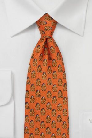 Gingerbread Men Ties in Burnt Orange