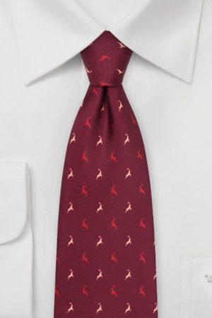 Jumping Reindeer Tie in Wine Red
