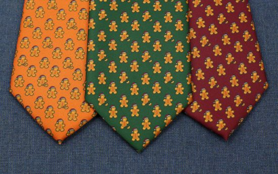 Gingerbread Men Neckties Holiday Ties