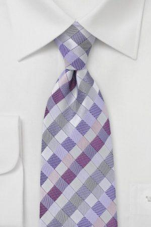 Patchwork Plaid Necktie it Purple and Violet