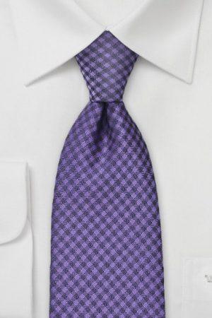 Violet Gingham Check Mens Necktie