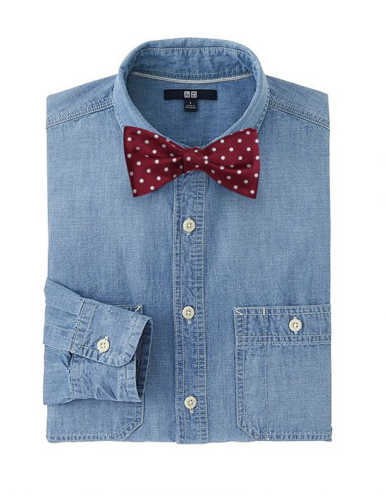 Casual New Years Eve Mens Style: Chambray Shirt + Burgundy Bow Ties
