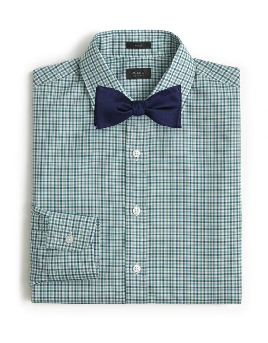 Green Check Shirt + Blue Bow Tie