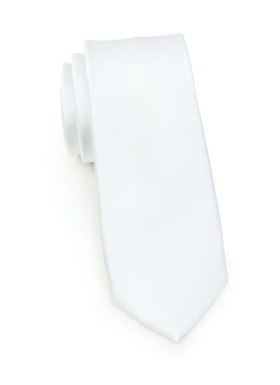 Solid White Mens Skinny Necktie