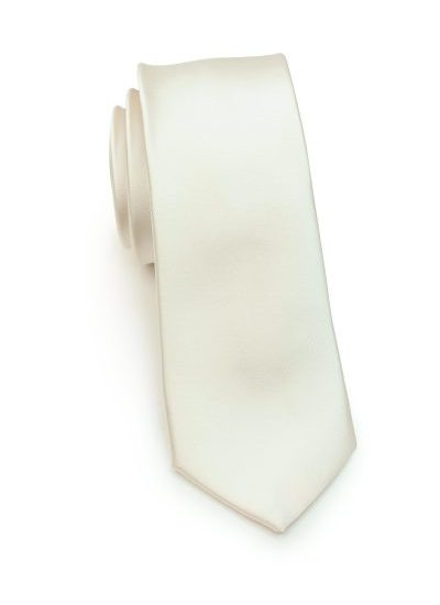 Solid Cream Skinny Mens Necktie