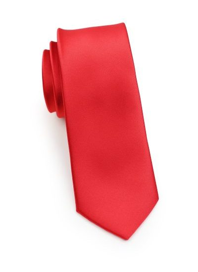 Bright Red Mens Skinny Necktie