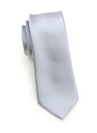 Mens Silver Skinny Necktie
