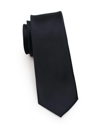 Solid Black Mens Skinny Necktie