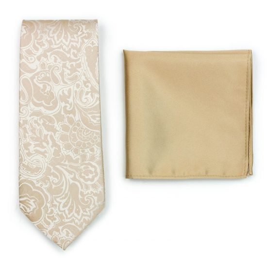 Formal Champagne Paisley Necktie Paired to Solid Champagne Pocket Square