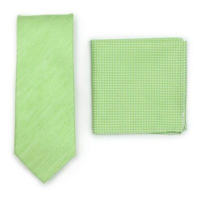 Lime Green Linen Necktie Paired To Light Green Solid Pocket Square