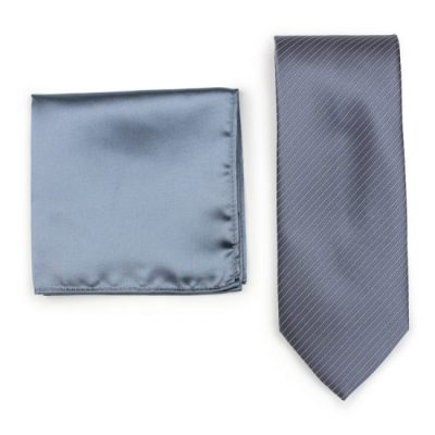 Charcoal Gray Striped Necktie Paired to Smoke Gray Pocket Square