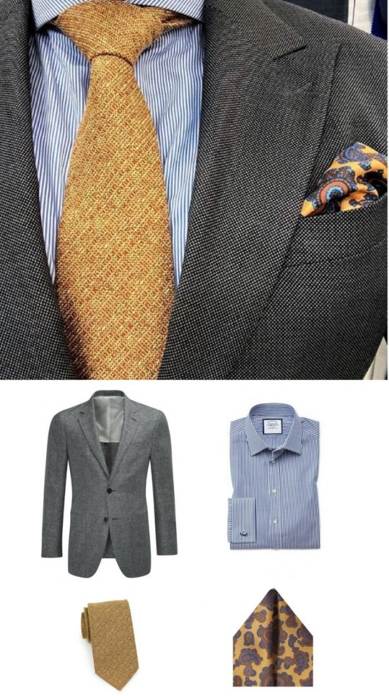 Mens Office Style: Wool Textured Tie in Golden Yellow