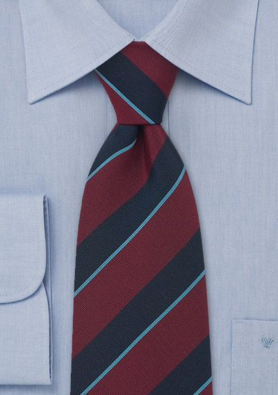 Striped Tie in Wine-Red, Navy, and Light-Blue