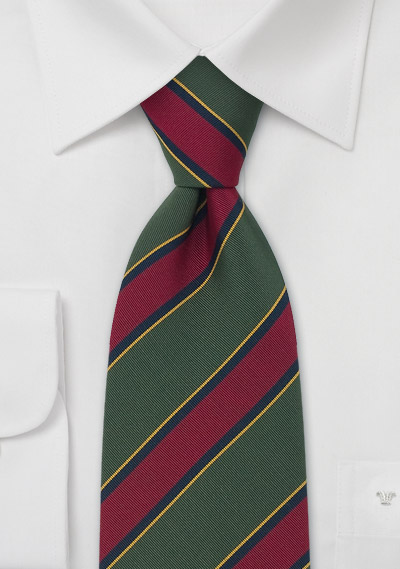 Traditional Striped Tie in Olive, Burgundy, Navy, and Amber