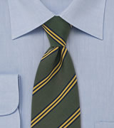 Regimental Necktie  Tie by Atkinsons, Green with thin yellow stripes