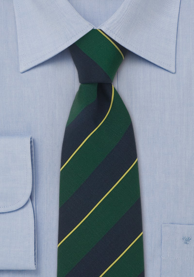 Atkinsons regimental tie<br>Classic regimental necktie in green and blue