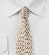 Textured Cashmere Knit Tie in Beige
