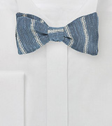 Striped Linen Bow Tie in Denim Blue