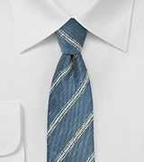 Denim Blue Striped Linen Tie