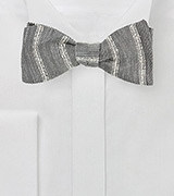 Linen Bow Tie in Stone Gray and Cream