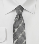 Stone Gray and Cream Stripe Linen Tie