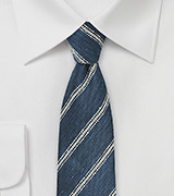 Striped Linen Tie in Indigo