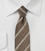 Linen Striped Tie in Walnut and Cream