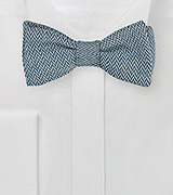 Herringbone Bow Tie in Denim Blue