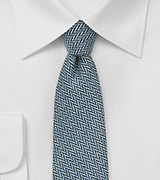 Denim Blue Skinny Tie with Herringbone