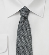 Smoke Gray Skinny Tie with Herringbone