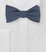 Indigo Blue Bow Tie with Herringbone