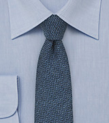 Trendy Herringbone Tie in Indigo Blue