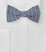 Striped Bow Tie in Denim Blue